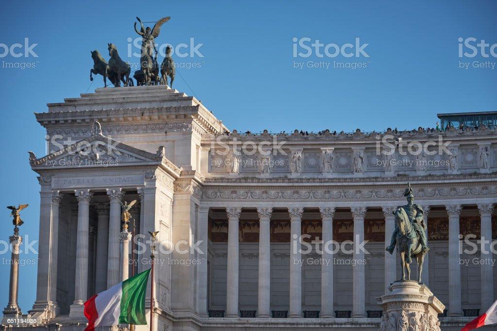 Macro shot of Altar of Fatherland, Rome stock photo
