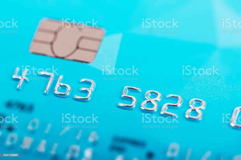 macro shot of credit card numbers stock photo