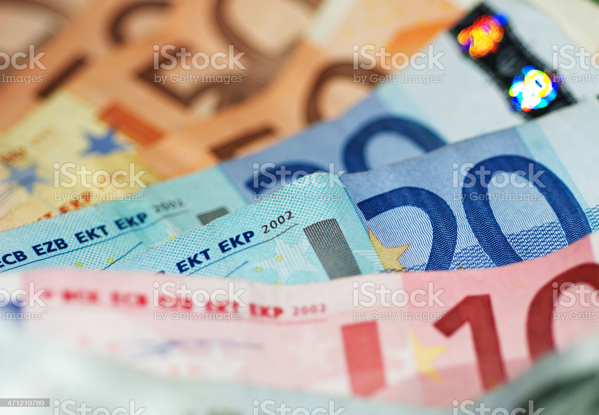 Macro Shot Of Euro Banknotes Focus On 20€ royalty-free stock photo