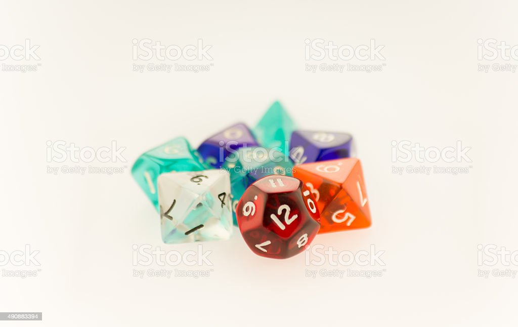 Macro shot of gaming dice set stock photo