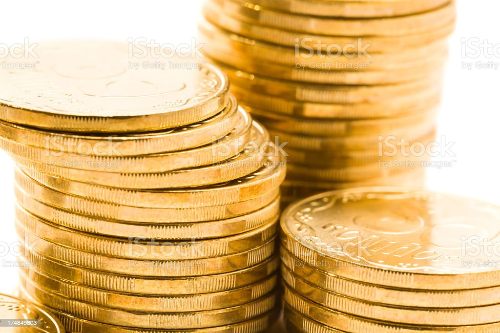 Macro shot of golden coins royalty-free stock photo