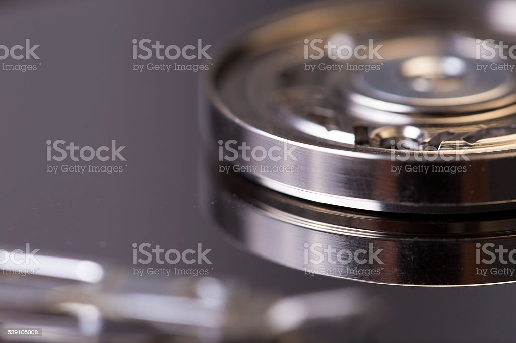 Macro shot of hard disk stock photo
