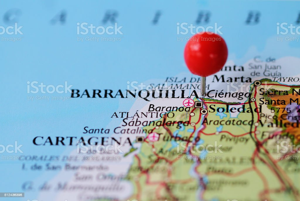 Macro shot of push pin on map of Barranquilla Colombia stock photo