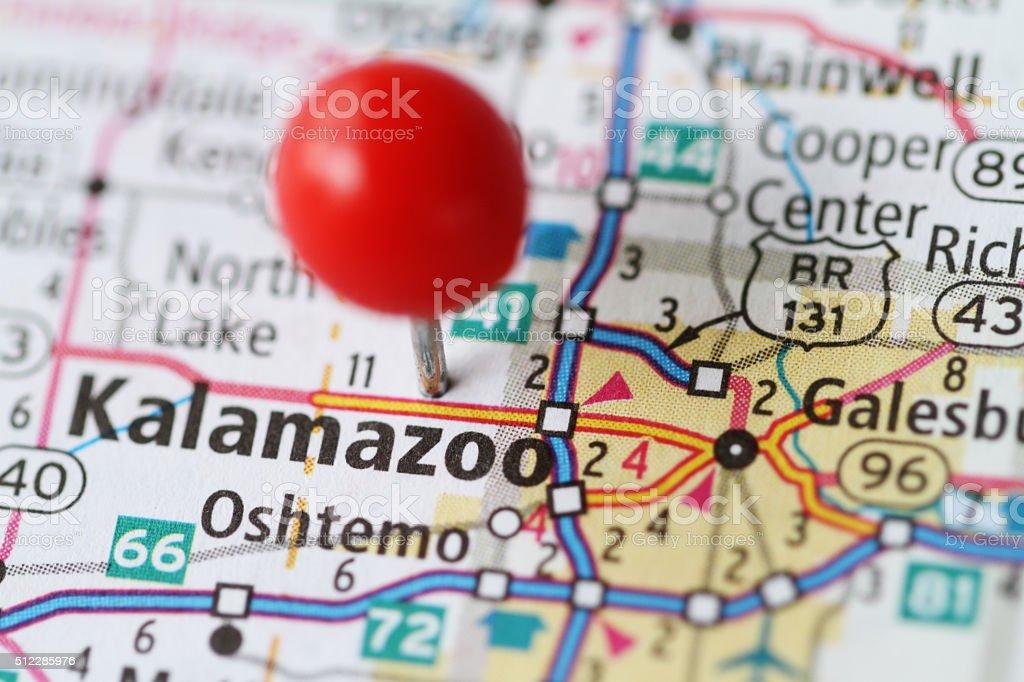 Macro shot of push pin on map of Kalamazoo MIchigan stock photo