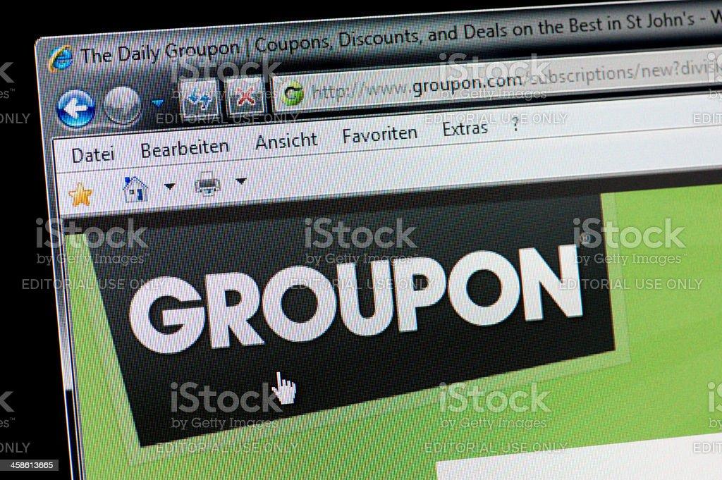 GROUPON - Macro shot of real monitor screen stock photo