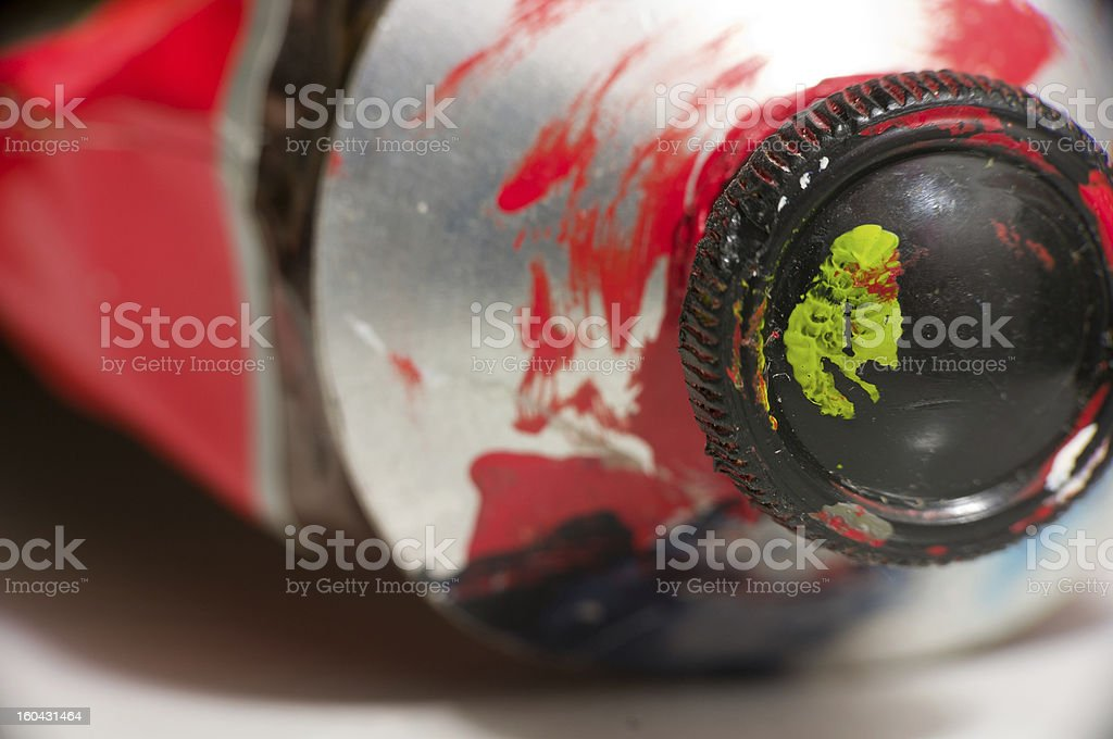 Macro shot of red paint tube royalty-free stock photo