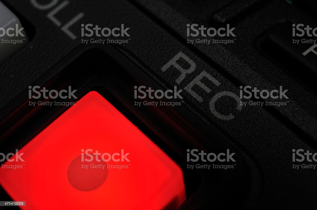 Macro shot of the 'Record' button. stock photo