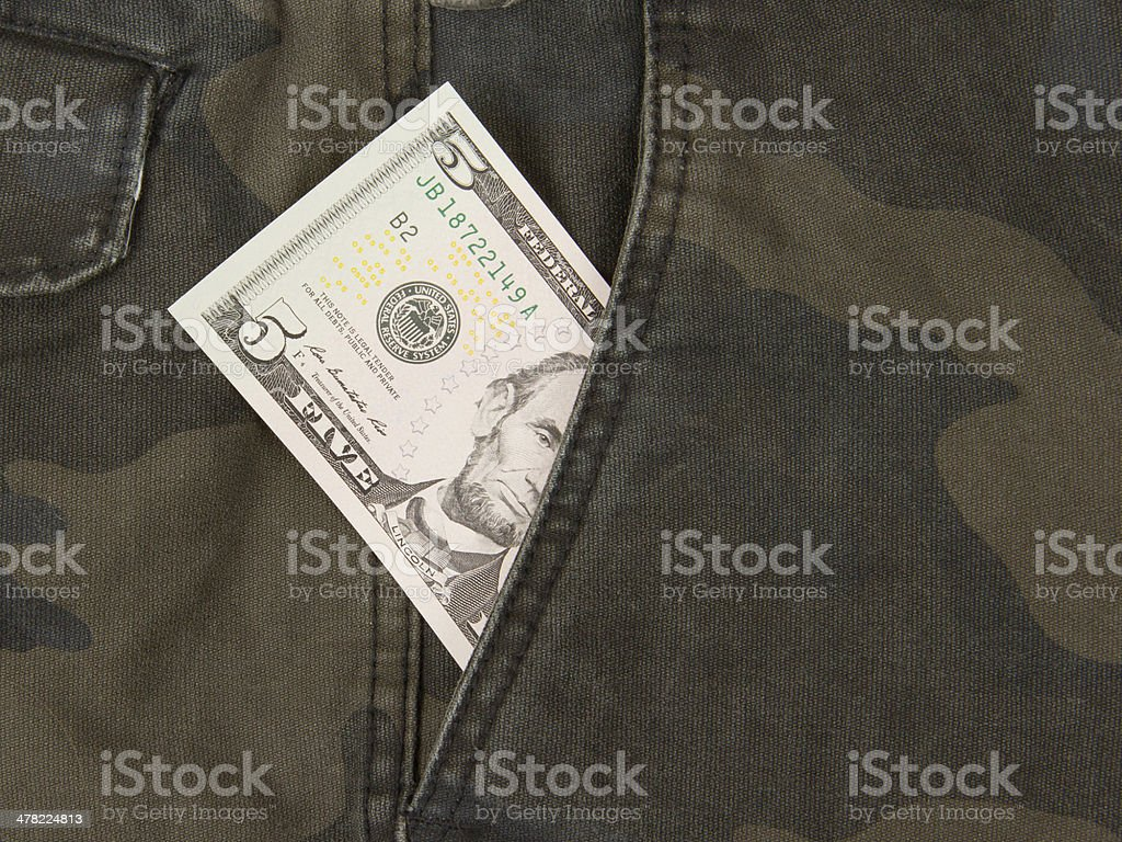 Macro shot of trendy jeans with american 5 dollar bill stock photo