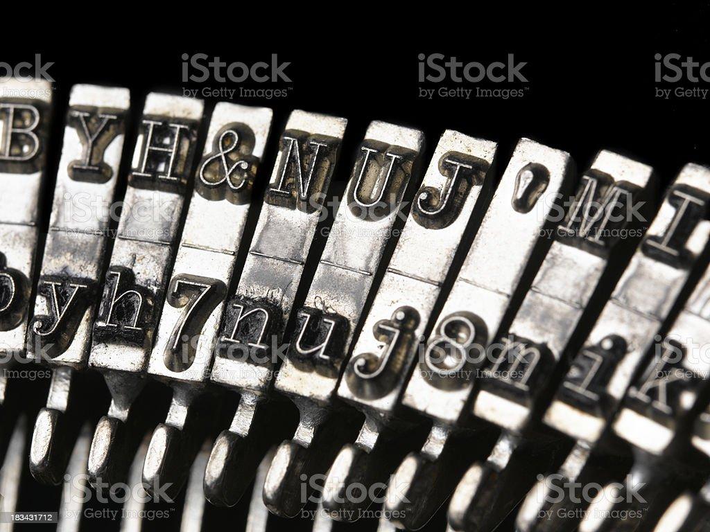 macro shot of typewriter keys royalty-free stock photo