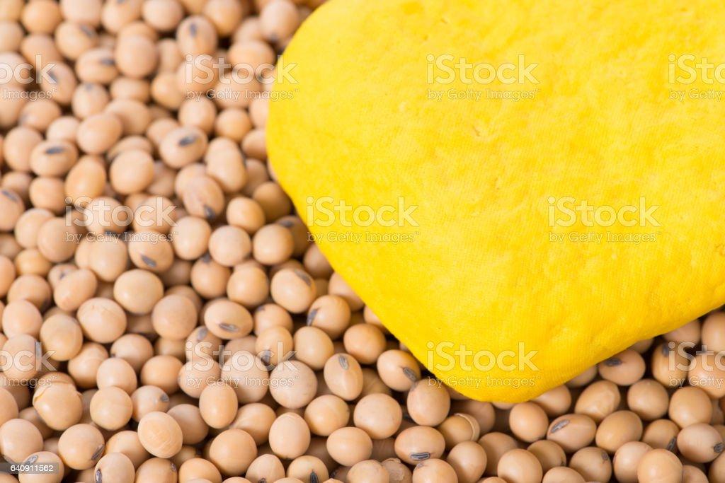 Macro shot of yellow tofu and soy beans stock photo