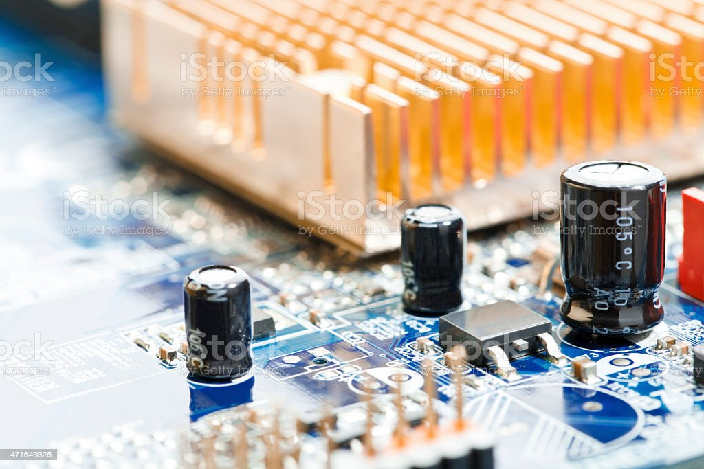 Macro shot the motherboard. stock photo