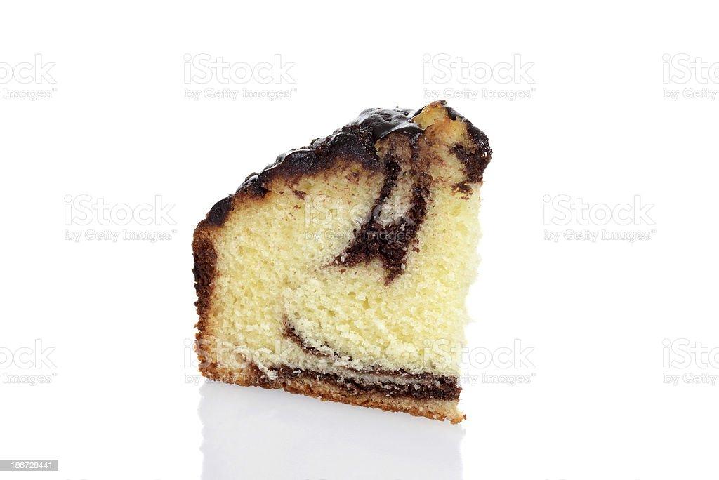 macro slice chocolate marble cake stock photo