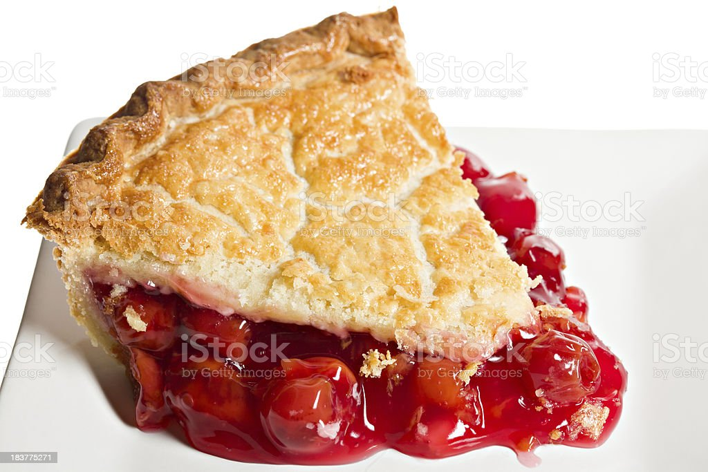 Macro Slice Of Cherry Pie stock photo