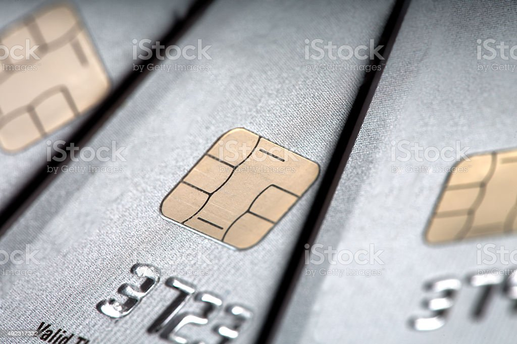 Macro Smart Credit Card with EMV stock photo