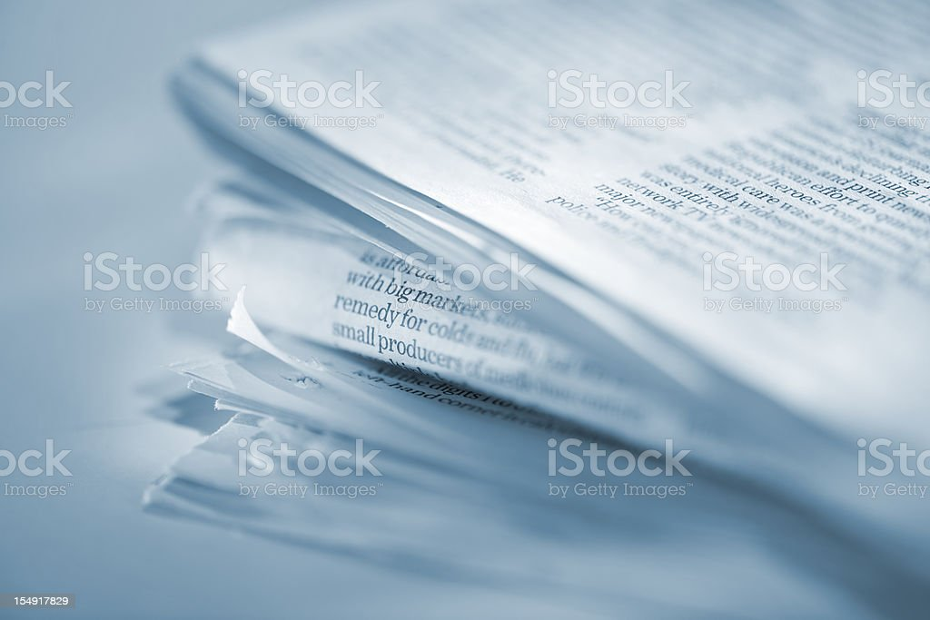 macro stack of newspapers royalty-free stock photo