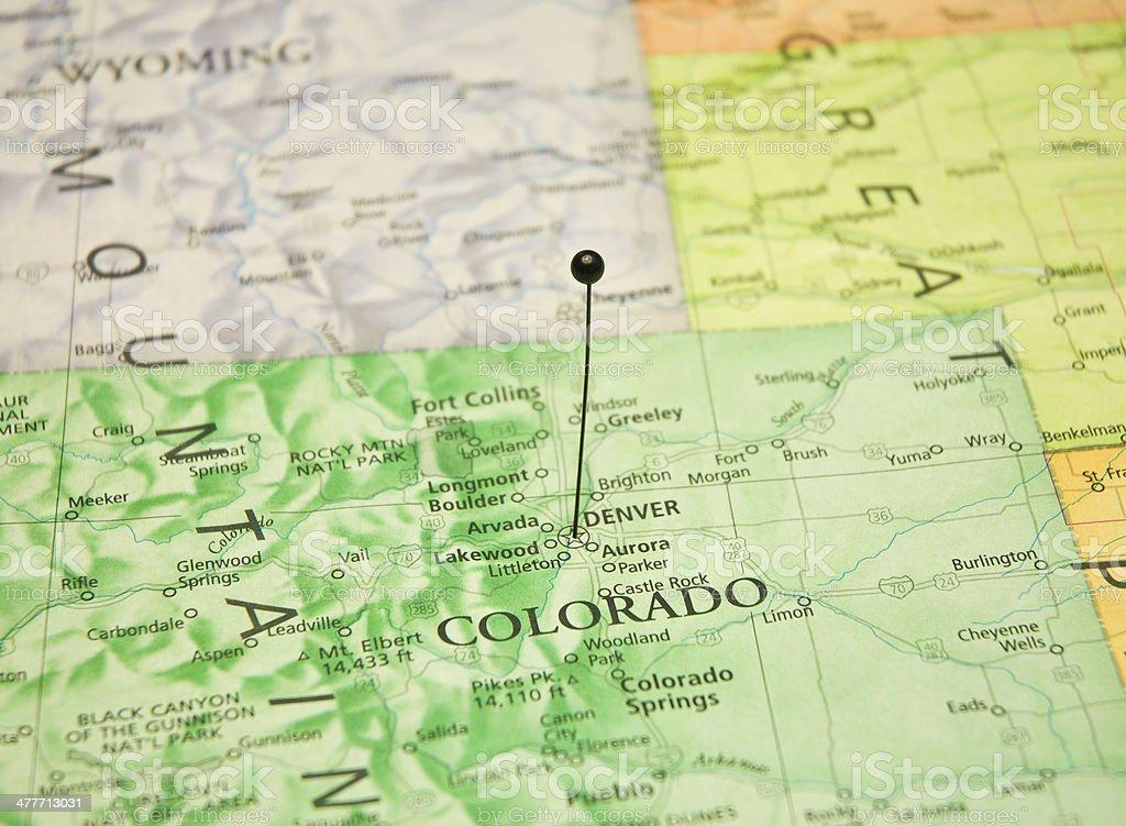 Macro Travel Map Of Denver Colorado stock photo