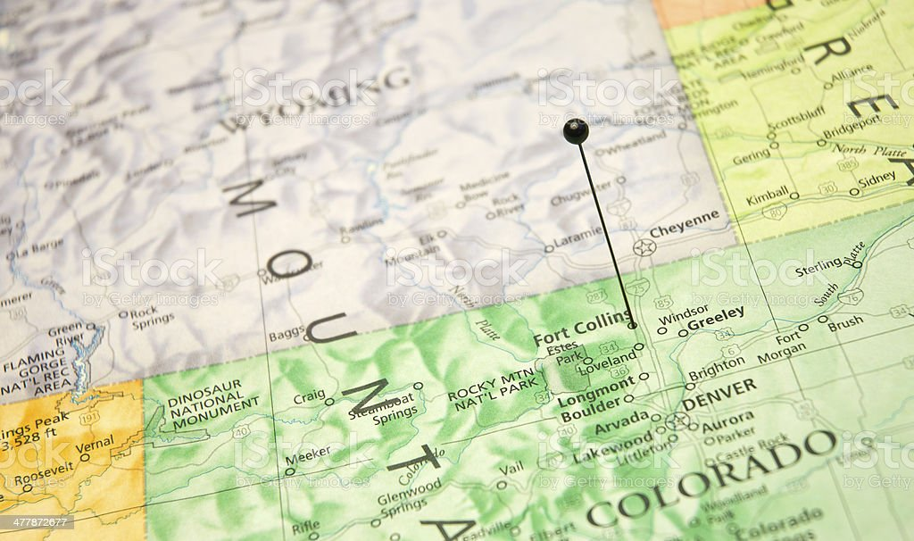 Macro Travel Map Of Fort Collins And Denver Colorado stock photo