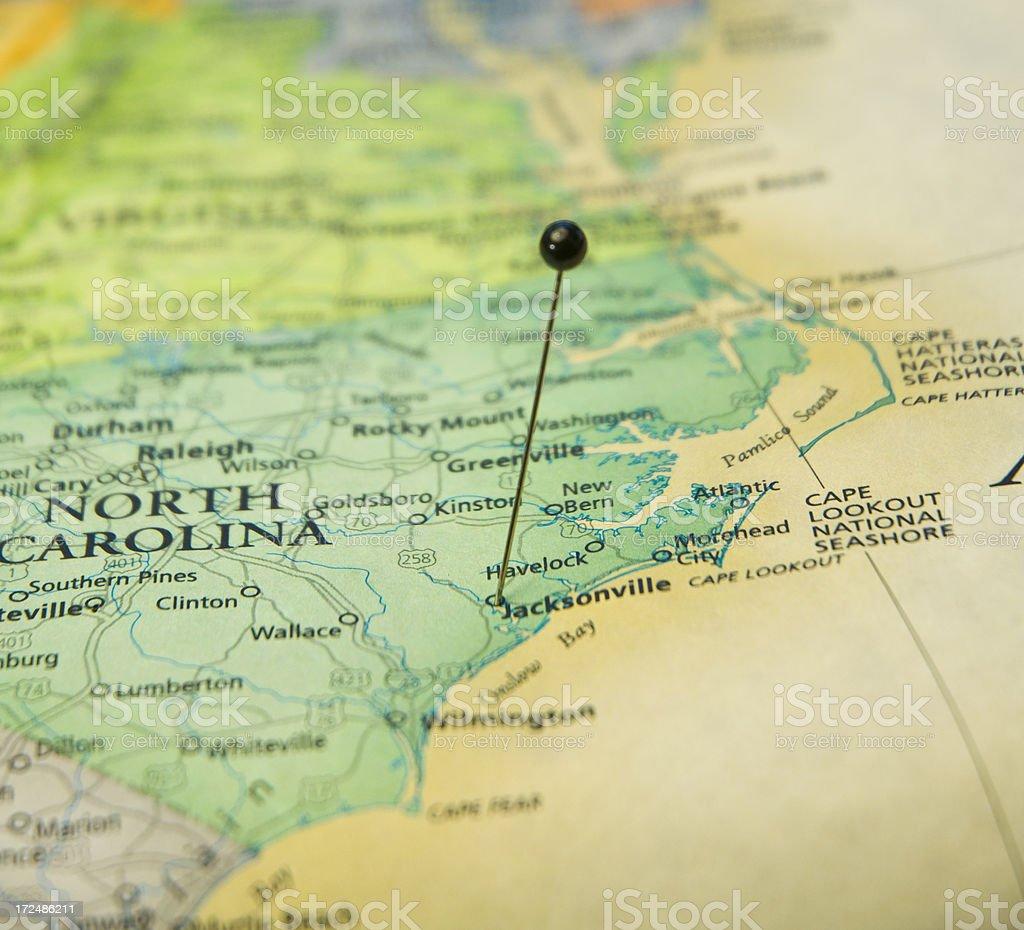 Macro Travel Map Of Jacksonville North Carolina And Beaches royalty-free stock photo