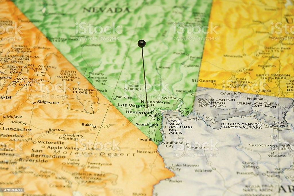 Macro Travel Map Of Las Vegas Nevada stock photo