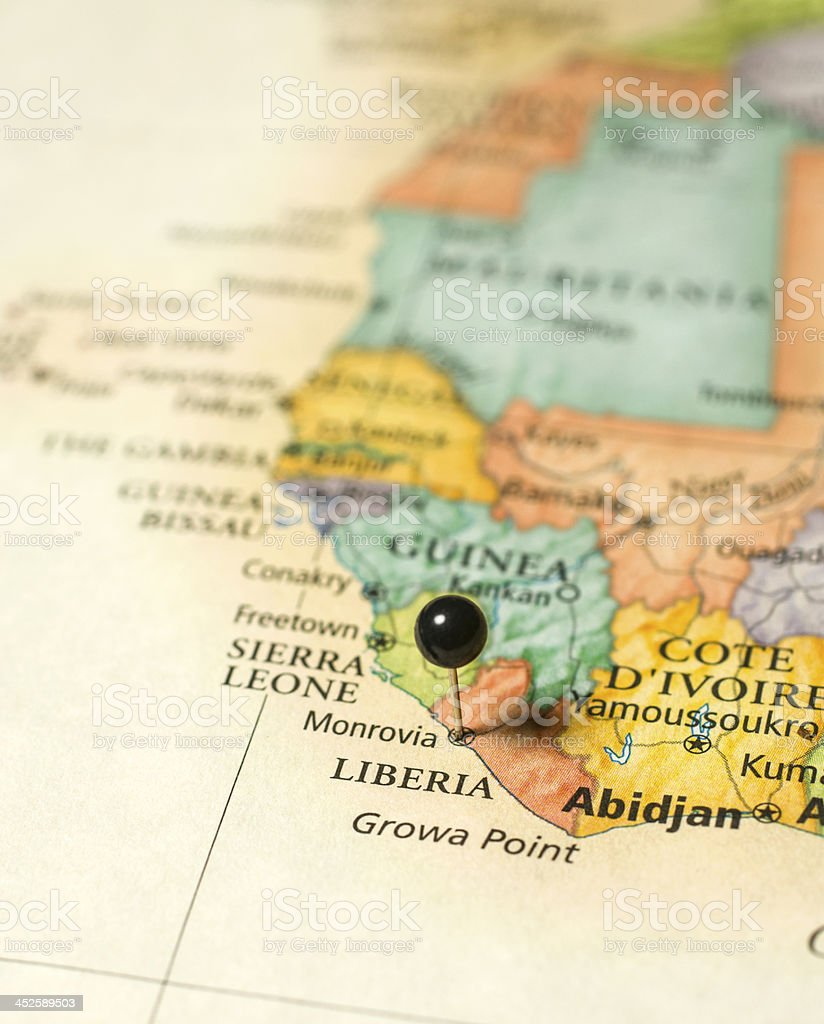Macro Travel Map Of Liberia Sierra Leone Abidjan Cote Divoire stock photo