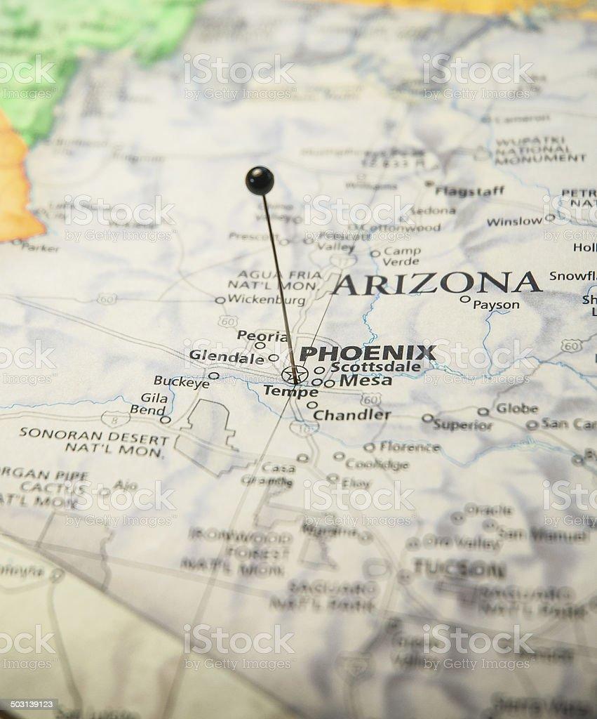 Macro Travel Map Of Phoenix Arizona With Map Pin stock photo