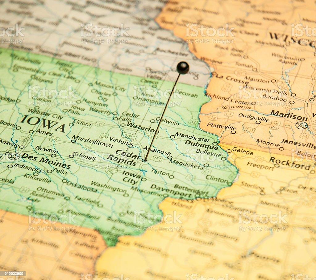 Macro travel road map of Cedar Rapids Iowa stock photo