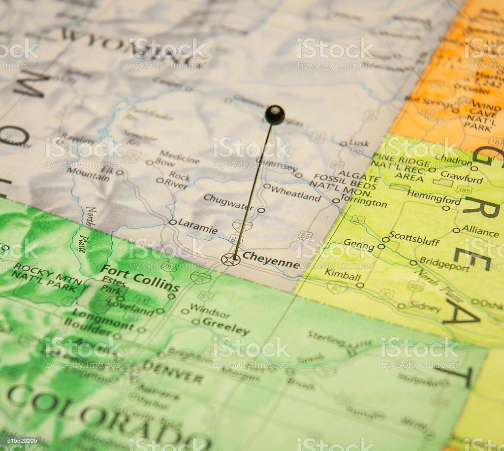 Macro Travel Road Map Of Cheyenne Colorado stock photo