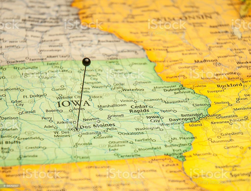 Macro Travel Road Map Of Des Moines Iowa stock photo