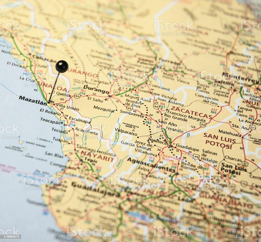 Macro Travel Road Map Of Mazatlan Mexico stock photo