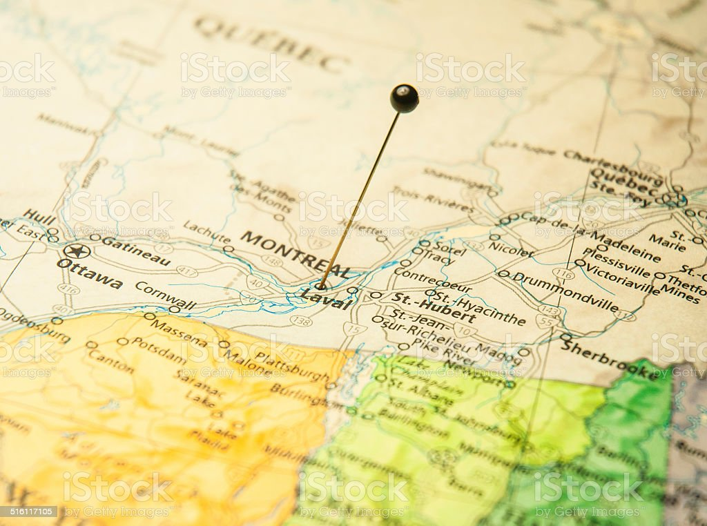 Macro Travel Road Map Of Montreal Canada And International Border stock photo