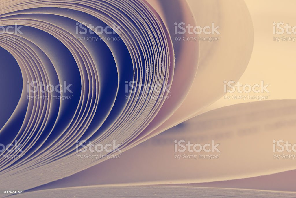 Macro view of book pages. Toned image. Copy space for stock photo