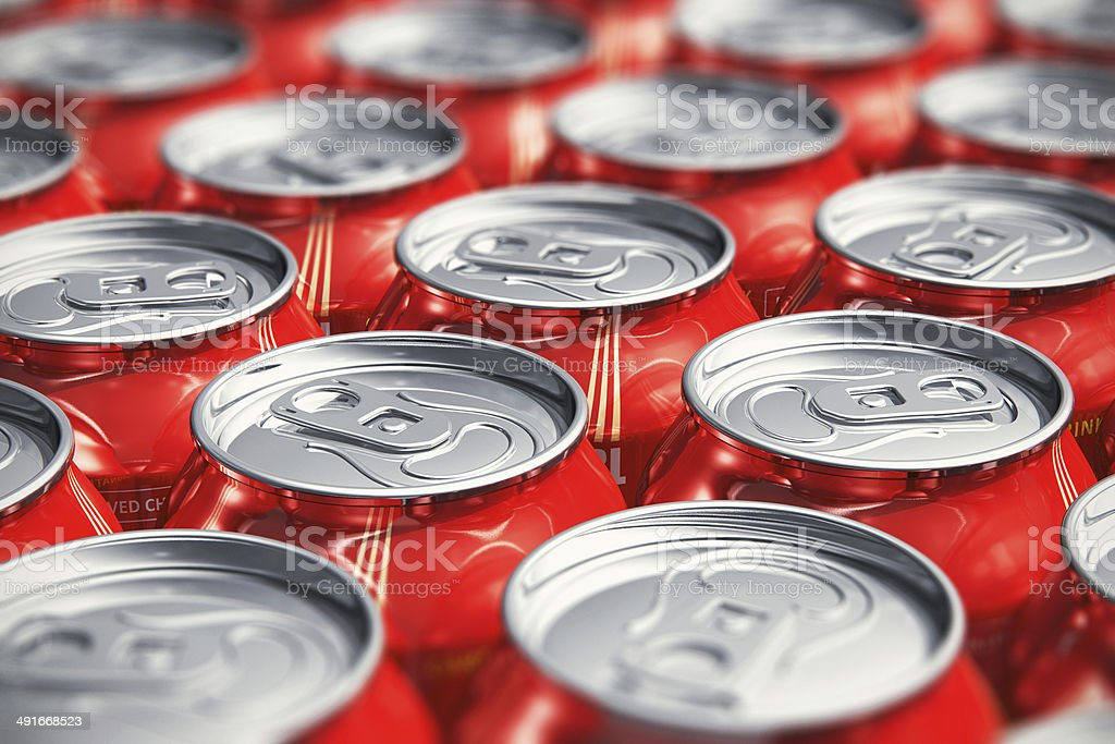 Macro view of drink cans stock photo