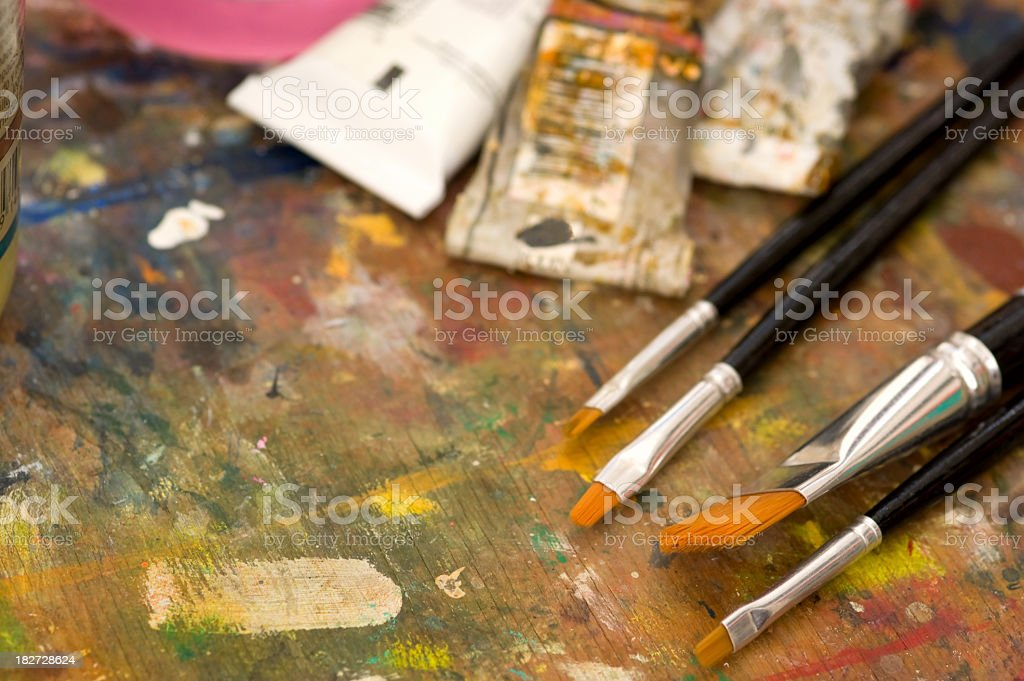 Macro View of Palette at a Painting Class stock photo