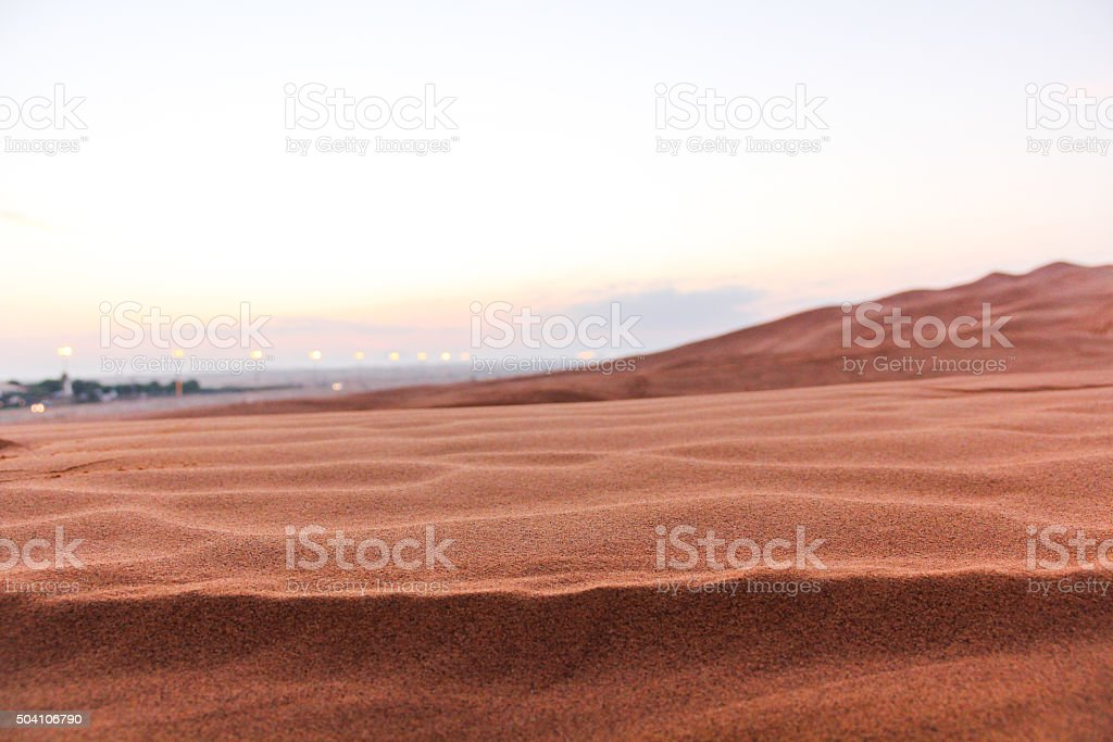 Macro View of Sand Dunes of Dubai in the morning stock photo