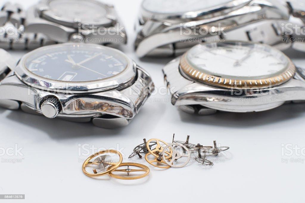 Macro view watch mechanism with gears. stock photo