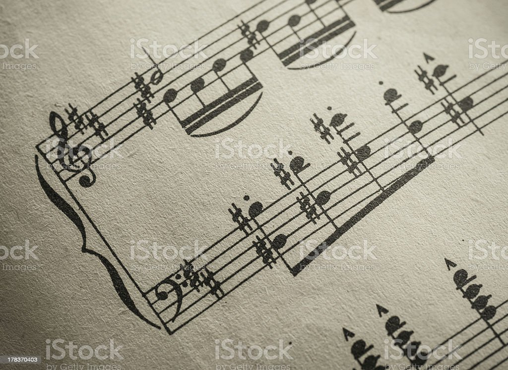 Macro Vintage Sheet Music Vignette royalty-free stock photo
