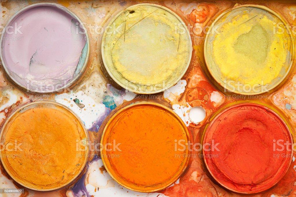 Macro Watercolor Paints Warm Tones stock photo