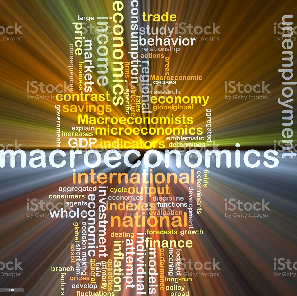 macroeconomics wordcloud concept illustration glowing stock photo