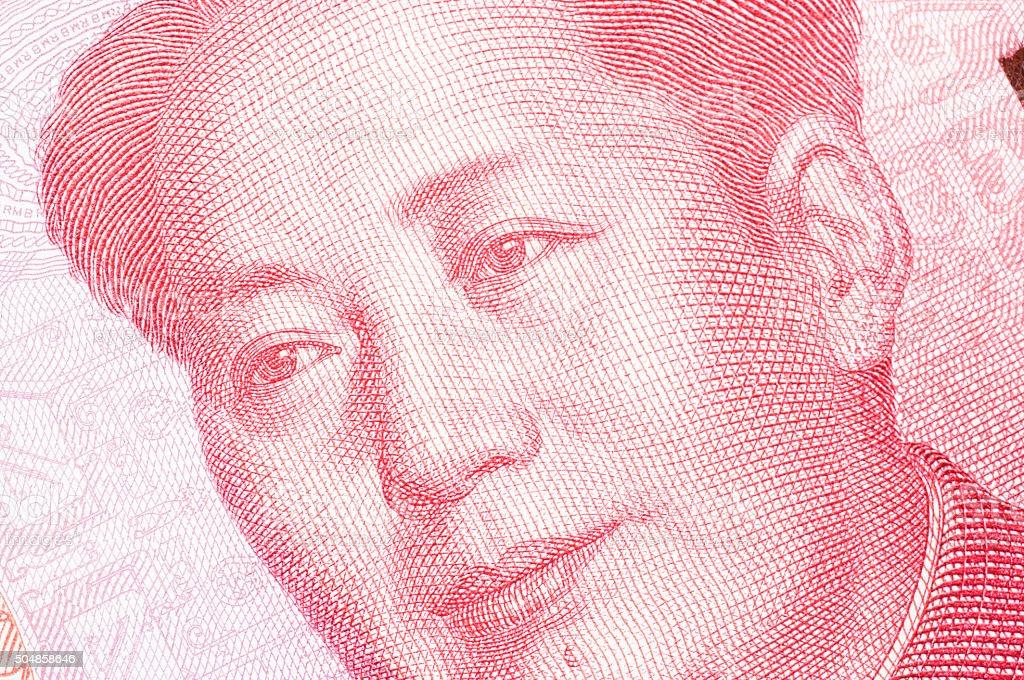 Macro-shot for Renminbi (RMB) , gloden 100 hundred dollar. stock photo