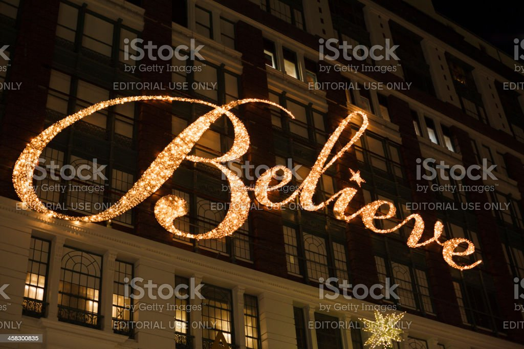 Macy's Believe Sign stock photo