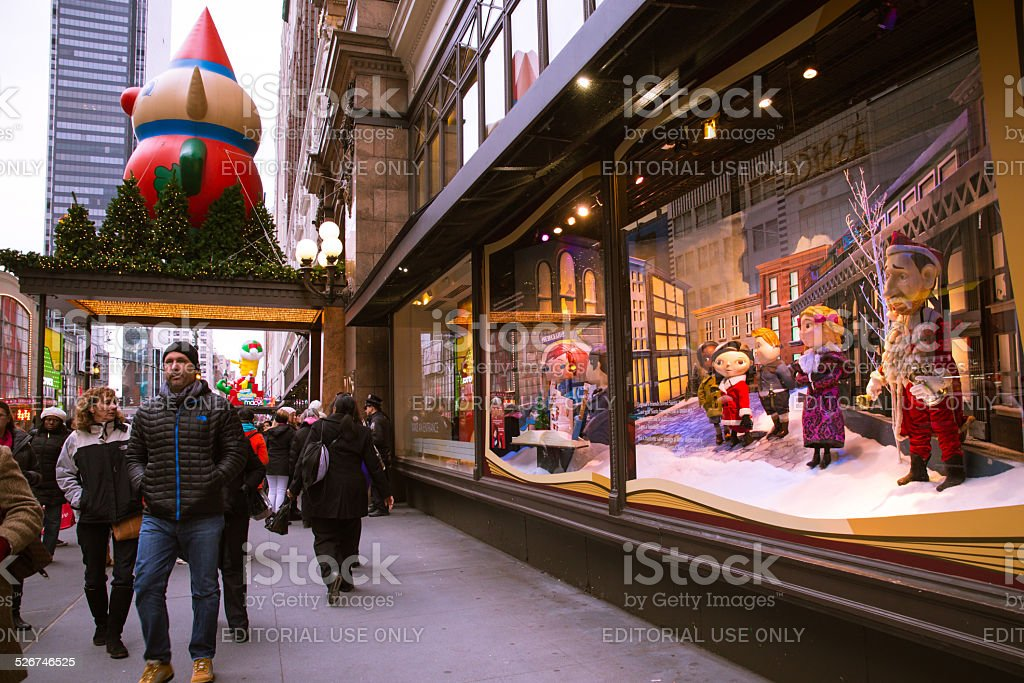 Macy's NYC Christmas Windows stock photo