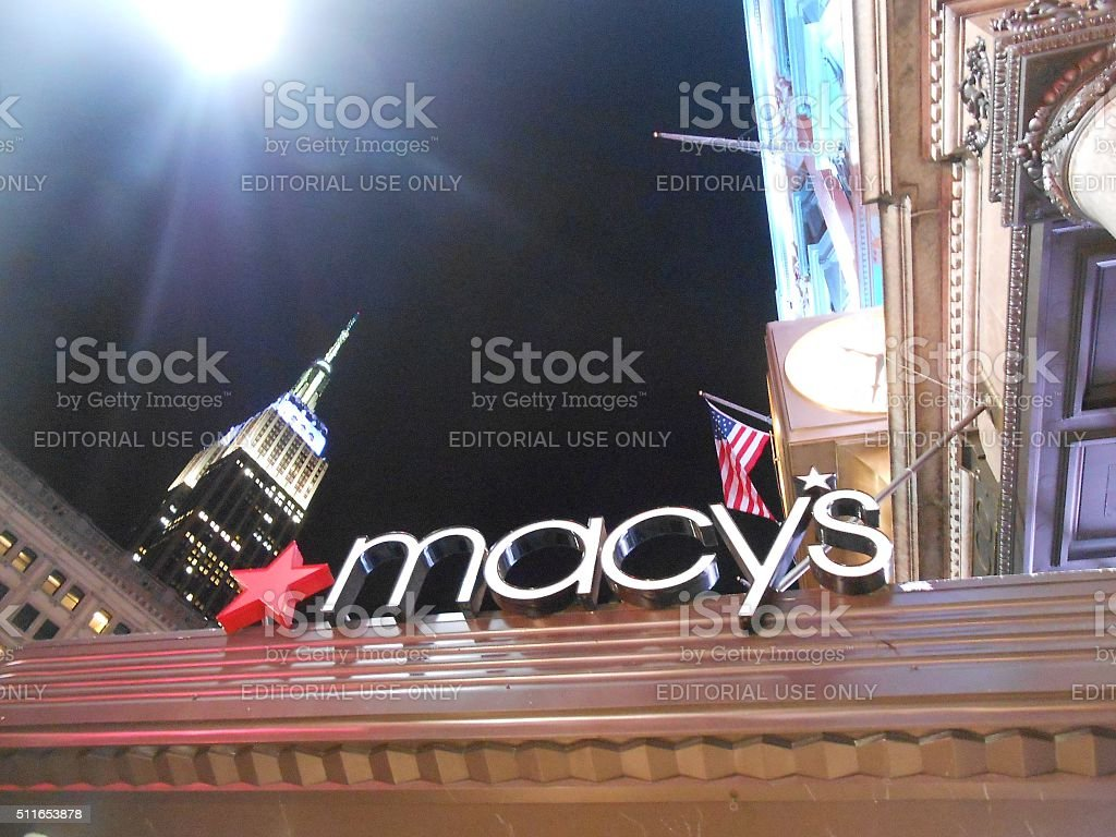 Macy's Store and Empire State Building View from Herald Square. stock photo