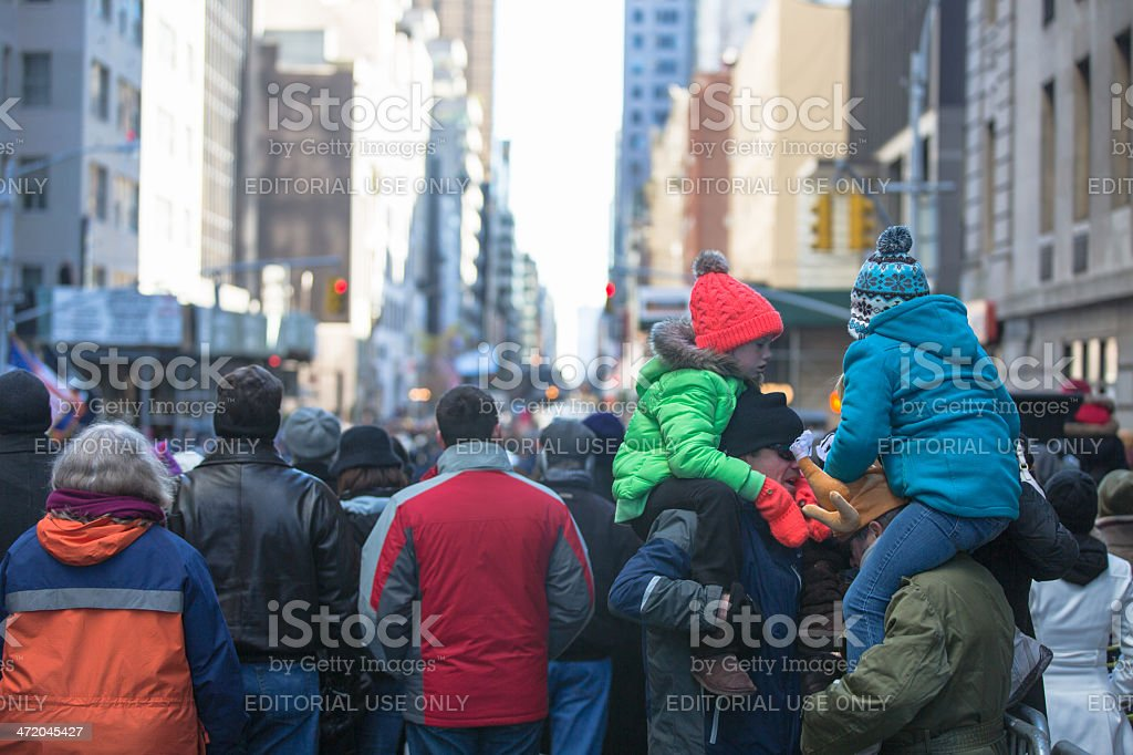 Macy's Thanksgiving Parade Spectators stock photo
