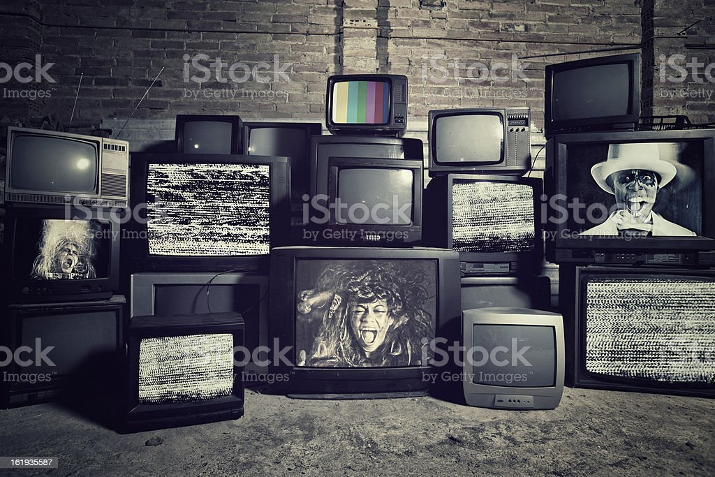 Mad about televisions stock photo