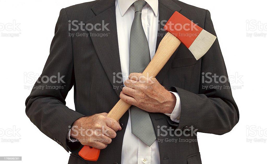 Mad axe businessman stock photo