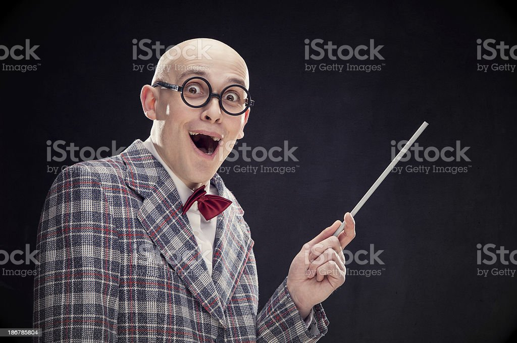 Mad bald professor with bow tie and wand black isolated royalty-free stock photo