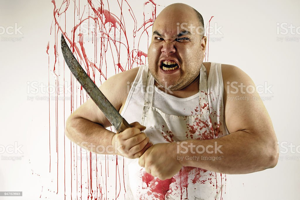Mad butcher stock photo
