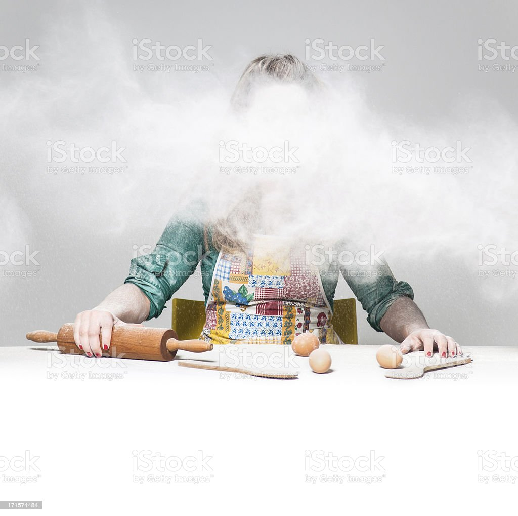 Mad cooking girl... stock photo