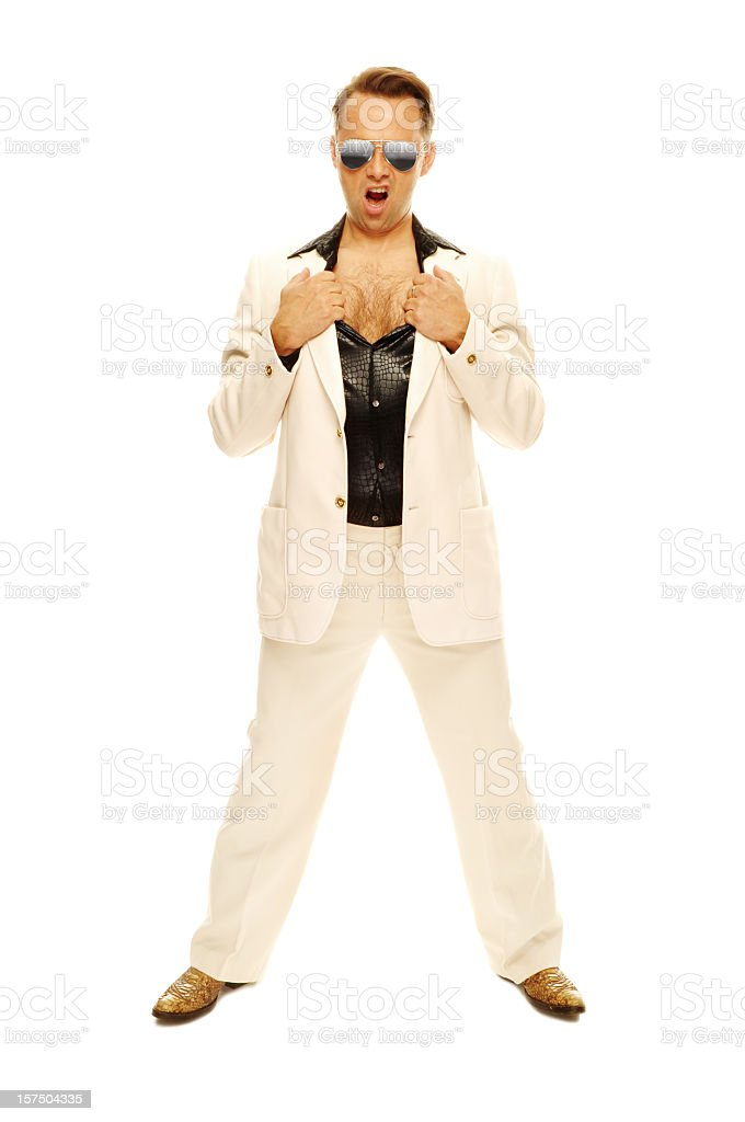 Mad disco dancer in white suit and snake leather boots stock photo