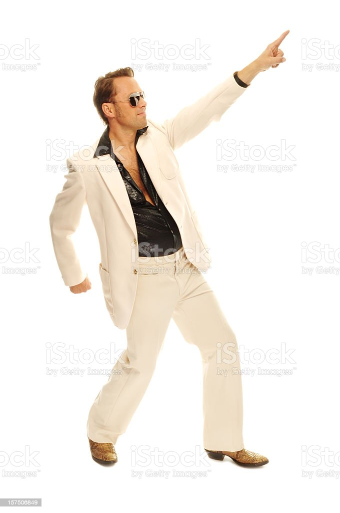 Mad disco dancer in white suit and snake leather boots royalty-free stock photo